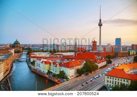 Aerial overview of Berlin Germany at the sunrise