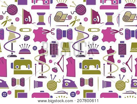 Seamless background on a sewing theme in vintage style