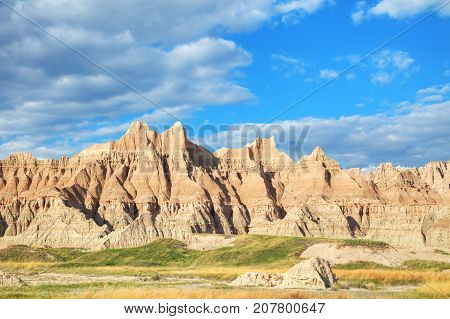 Scenic view at Badlands National Park South Dakota USA on acloudy day