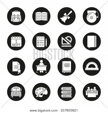 School and education glyph icons set. Pupil's rucksack, bell with bow, palette with brush, rulers, diploma, September 1st date, books, bus. Vector white silhouettes illustrations in black circles