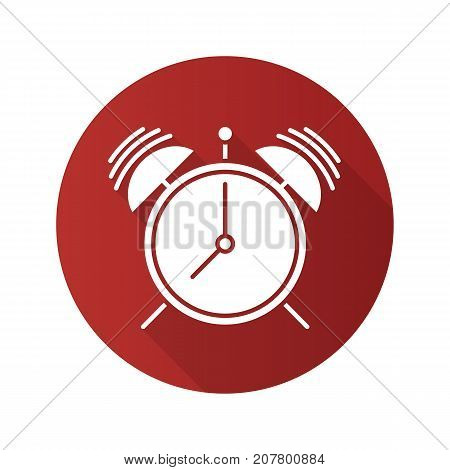 Ringing alarm clock flat design long shadow glyph icon. Vector silhouette illustration