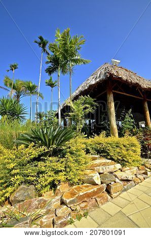 A frond thatched covered roof covers an open building in a tropical setting.