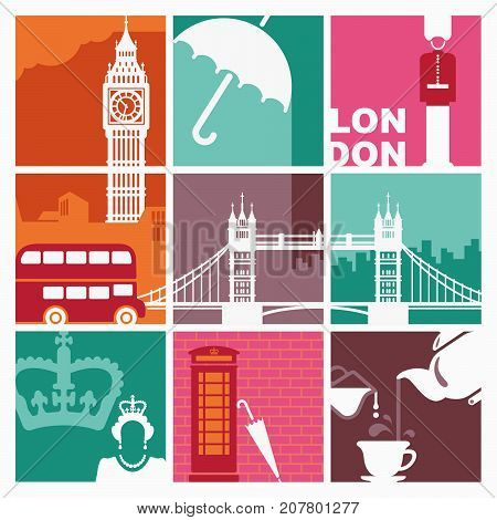 Traditional symbols of England and London in style of a retro