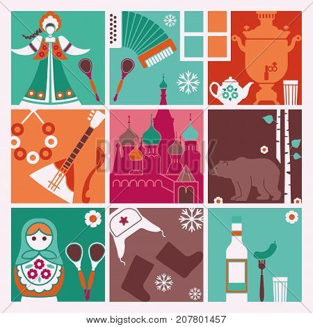 Squares with traditional stylized symbols of Russia