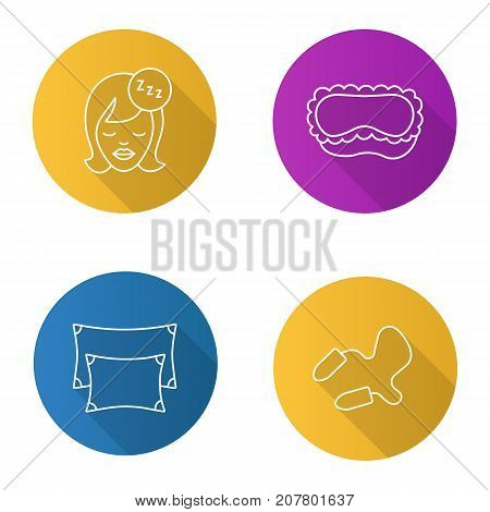 Sleeping accessories flat linear long shadow icons set. Pillows, earplugs, sleeping woman, mask. Vector outline illustration