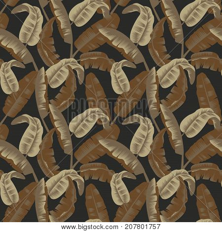 Military Seamless Pattern with Tropical Leaves. Camouflage Background. Camo Fashion Texture. Army Uniform. Vector illustration
