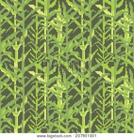Military Pixelate Seamless Pattern with Grass. Camouflage Background. Camo Fashion Texture. Army Uniform. Vector illustration