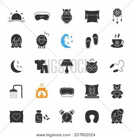 Sleeping accessories glyph icons set. Silhouette symbols. Pillows, sleeping slippers, pills, earplugs, dreamcatcher, alarm clock, pajamas. Vector isolated illustration