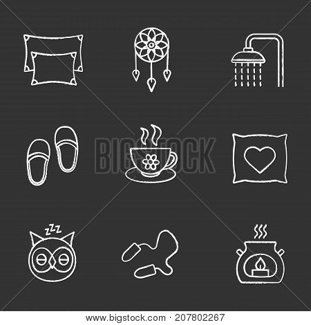 Sleeping accessories chalk icons set. Pillows, dreamcatcher, shower faucet, herbal teacup, sleeping owl, earplugs, aroma candle. Isolated vector chalkboard illustrations