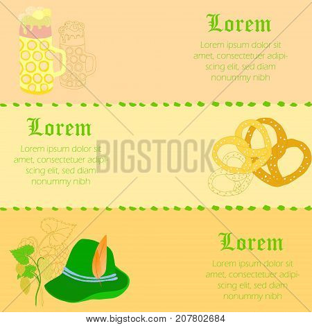 Three with Horizontal Flyers to Oktoberfest with Traditional Festival Items and it Outlines such as Beer Mug, Pretzels, Bavarian Hat and Hop Twigs. Vector EPS 10
