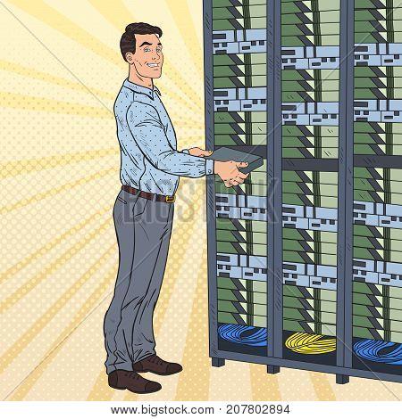 Pop Art Network Engineer Working with Hardware Data Center. Build Server Database. Technicianin Server Room. Vector illustration