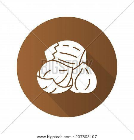 Hazelnuts flat design long shadow glyph icon. Vector silhouette illustration