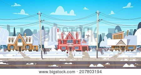 Village Winter Landscape House Buildings With Snow On Top City Or Town Suburb Street Flat Vector Illustration