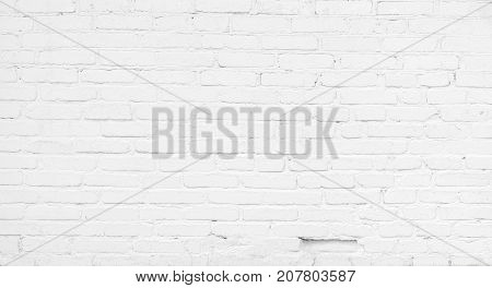 Abstract Whitewash Brickwall Background Texture. Restored Old Brick Wall. Painted brick wall room in white color. Grunge Wallpaper or Web banner With Copy Space For design
