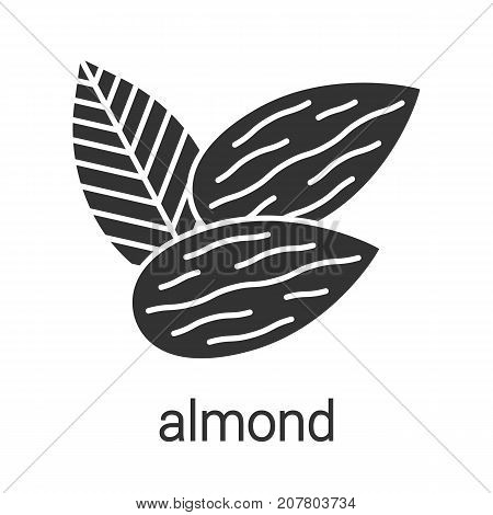 Almond glyph icon. Silhouette symbol. Negative space. Vector isolated illustration