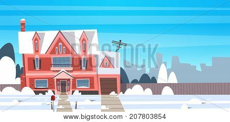 Village Winter Landscape House Building With Snow On Top City Or Town Suburb Street Flat Vector Illustration