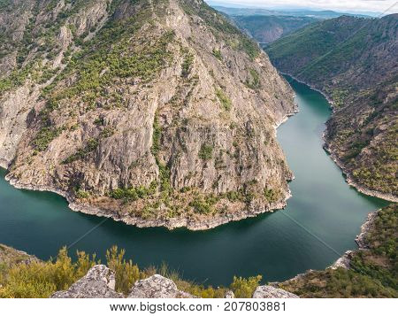 Spectacular view of Sil river canyon in the province of Ourense Galicia Spain. Ribeira Sacra turn view from Vilouxe viewpoint.