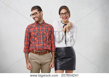 Shy Man Makes Proposal To Girlfriend, Looks Aside As Waits For Positive Answer. Joyful Glad Female M