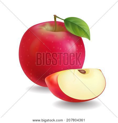 Red apples with green leaves and apple slice vector Illustration.
