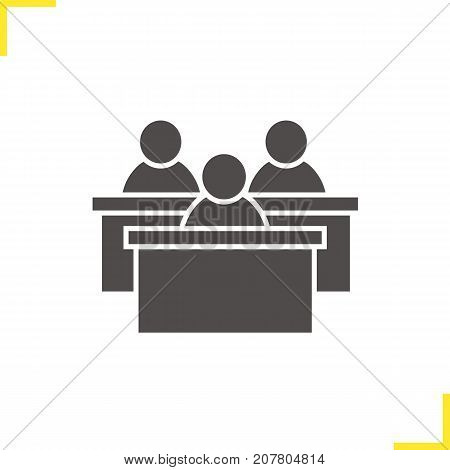Audience glyph icon. Silhouette symbol. Lecture hall. Students conference. Negative space. Vector isolated illustration