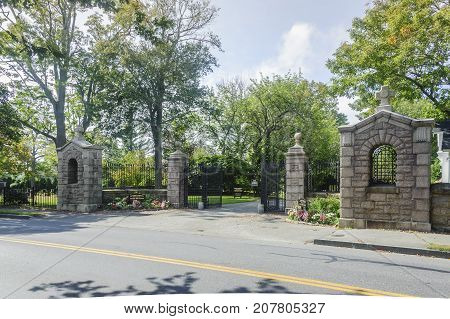 Fairhaven Massachusetts USA - October 7 2017: Entrance to Riverside Cemetery in Fairhaven Massachusetts on an early autumn day