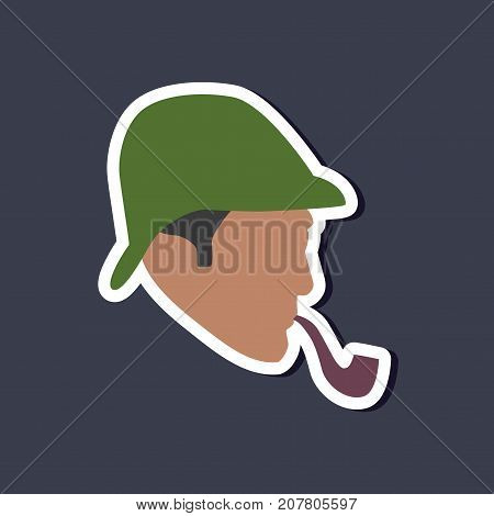paper sticker on stylish background of Sherlock Holmes