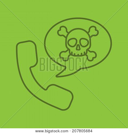 Dangerous phone call linear icon. Handset with skull and crossbones inside speech bubble. Thin line outline symbols on color background. Vector illustration