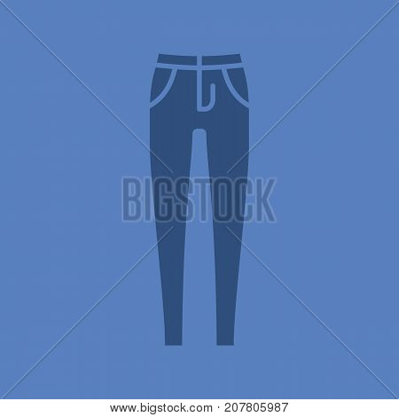 Women's skinny jeans glyph color icon. Silhouette symbol. Negative space. Vector isolated illustration