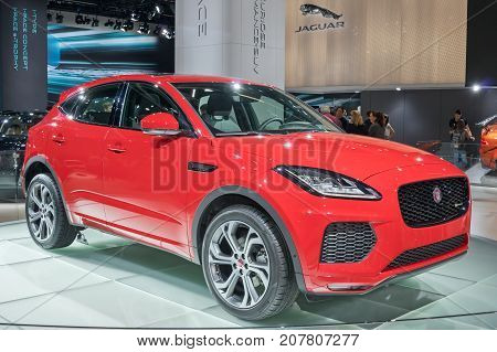 Frankfurt-September 20: world premiere of Jaguar E-Pace at the Frankfurt International Motor Show on September 20 2017 in Frankfurt
