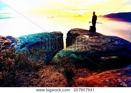 Sharp Rear Man Silhouette On Rocky Peak. Satisfy Hiker Enjoy View. Tall Man On Rocky Cliff Watching