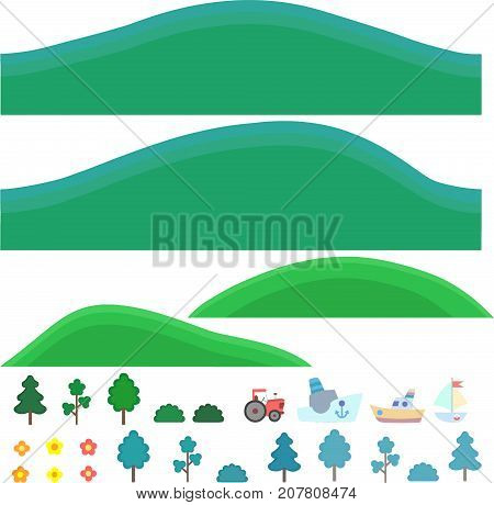 Vector Isolated Art For Games. Hills With Trees And Shrubs.