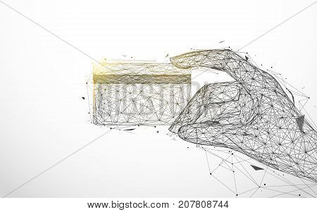 Hand holding credit card from lines and triangles point connecting network on background. Illustration vector