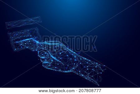 Hand pulling in debit card at ATM from lines and triangles point connecting network on blue background. Illustration vector