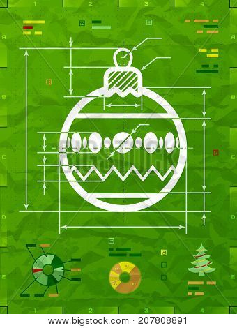 Christmas tree ball as technical blueprint drawing. Drafting of decoration bauble on crumpled paper. Vector illustration for new years day christmas decoration winter holiday