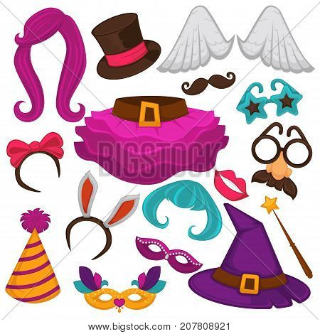 Carnival masks and costume accessories. Vector flat icons set of birthday party carnival mask, witch hat and wig, angel wings or funny nose or mustache glasses, bunny ears and magic hat