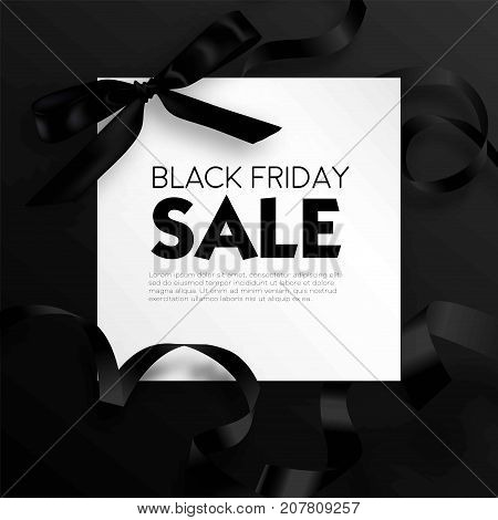Black Friday sale discount promo offer poster or advertising flyer and coupon. Vector elegant design of piece of paper and realistic black gift bow tie ribbon for premium fashion shop sale on black background.