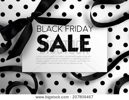 Black Friday sale discount promo offer poster or advertising flyer and coupon. Vector elegant design of piece of paper and realistic black gift bow tie ribbon for premium fashion shop sale on polka dot black background.