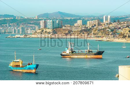 View on bay of Valparaiso and view on vina del mar in Chile