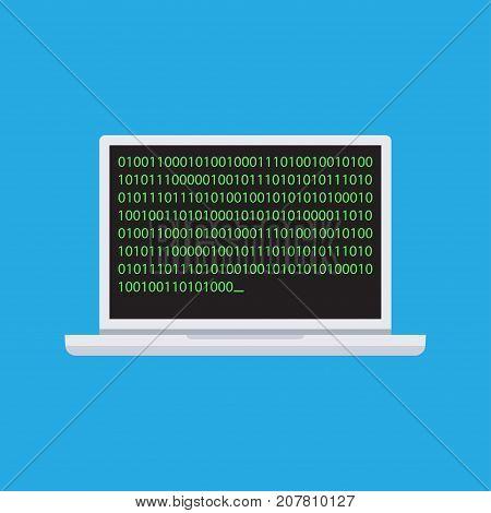 Coding. Binary Code On Laptop icon. vector illustration
