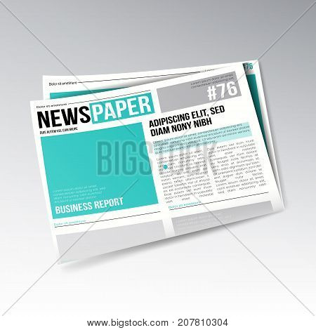 Folded Realistic Economic Newspaper Vector. Business, Finance Information. Daily Newspaper Journal Design. Illustration