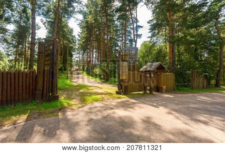 Entry to the ancient architectural ensemble of Peryn Skete with Church of the Nativity of Our Lady in Veliky Novgorod Russia