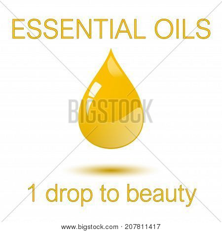 Essential oils - 1 one droop to beauty square concept poster. Vector illustration elements can be used as sticker, badge, sign, stamp, logo, banner, icon or label.