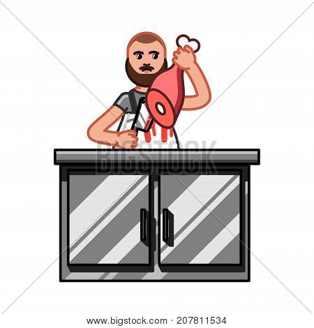 Butcher in work. Butcher cut the meat, butcher shop. Vector illustration, EPS 10