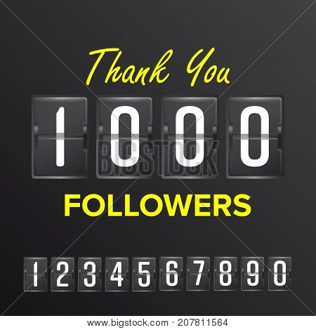 Thank You 1000 Followers Sign Vector. Thanks Design Label. Blogger Celebrates Large Number Of Followers. Illustration