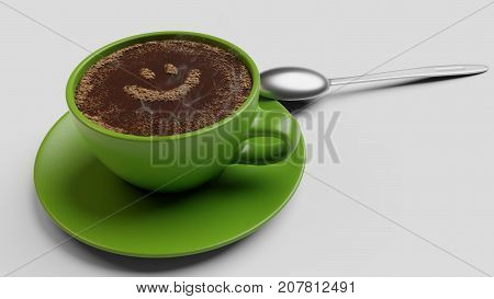 Green cup of coffee with foam as smile 3d render isolated on white