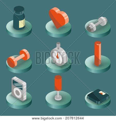 Gym color isometric icons. Vector illustration, EPS 10