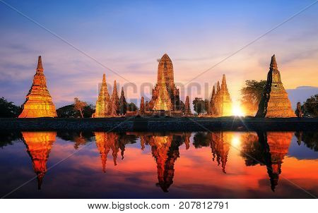 Reflection of pagoda and old temple in Ayutthaya ancient city park Ayutthaya Thailand Asia