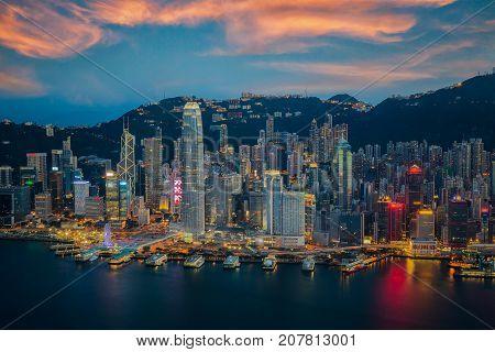 Hongkong city skyline the center of bissiness in Asia Hongkong Night Hongkong Sunset island in China