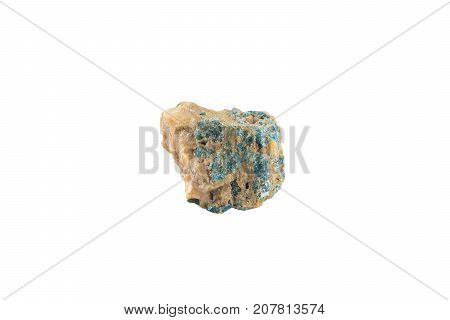 Bright Apatite Stone Crystal Isolated On White