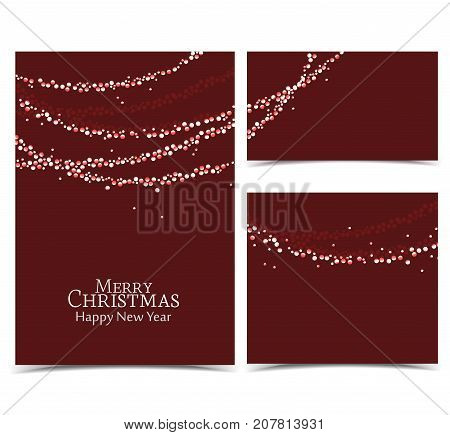 Vector illustration Christmas lights on a red background. String Lights. Set of banners of various sizes